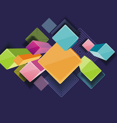 abstract techno background with 3d rhombus and vector image
