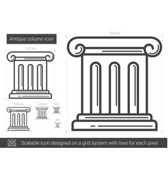Antique column line icon vector