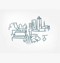 arc city sketch isolated simple design element vector image
