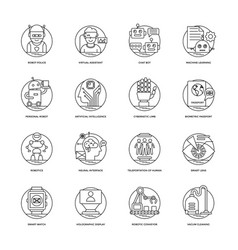 artificial intelligence line icons 4 vector image