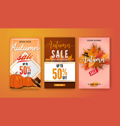 autumn sale vertical banner background template vector image