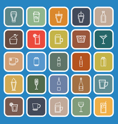 beverage line flat icons on blue background vector image