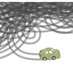 Car and tire tracks vector