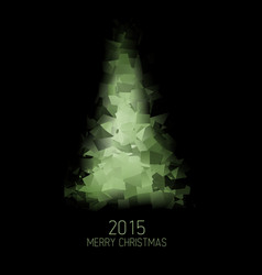 Card with abstract green christmas tree vector