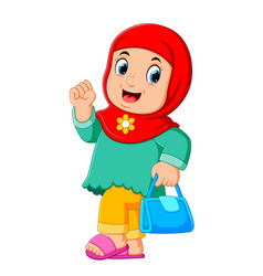 Cartoon arab women character with hijab carrying vector