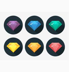 Cartoon gem and diamond icon rainbow color vector
