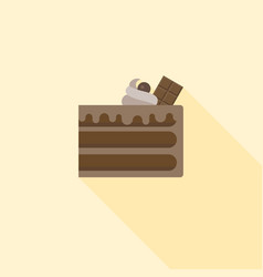 chocolate layer cake with chocolate bar and cream vector image