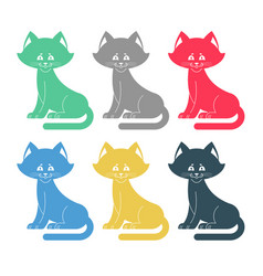 colored cats set icon multicolored pet collection vector image