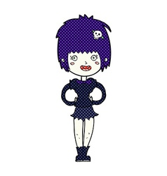 comic cartoon happy vampire girl vector image