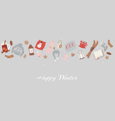 cozy winter objects for holidays vector image
