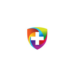 creative colorful medical shield logo vector image