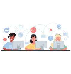 Customer service hotline operators consult vector