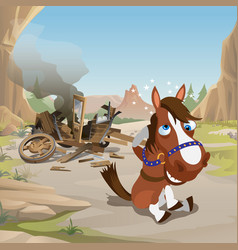 cute poster in wild west style crazy horse with vector image