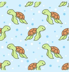 cute turtle seamless pattern background vector image
