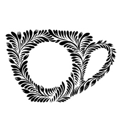 Decorative silhouette teacup vector