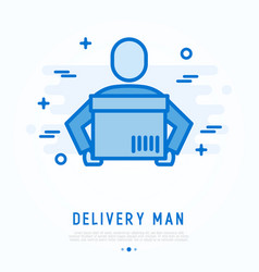 delivery man with package in hands thin line icon vector image