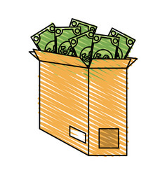 Dollar bills coming out of box money icon imag vector