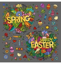 Easter and Spring hand lettering and doodles vector image