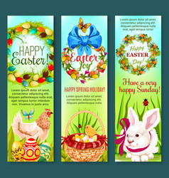 easter holiday egg rabbit chicken banner set vector image