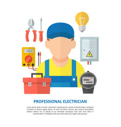 electrician with electrical equipment and tools vector image