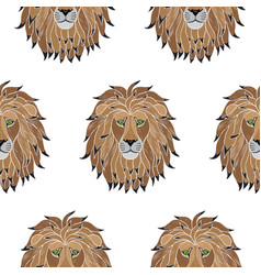 Embroidery lion seamless pattern vector
