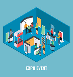 Expo event concept flat isometric vector