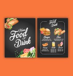Fast food restaurant menu design frame border vector