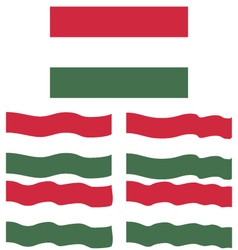 Flat and Waving Flag Of Hungary vector image