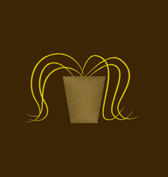 Flat shading style icon plant in a pot vector
