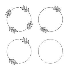floral frames circle leaves vintage round vector image