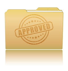 Folder with Approved damaged stamp vector image