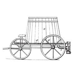Four wheeled street sprinkler vintage vector
