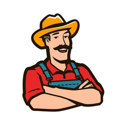 funny farmer with hat logo agriculture farm vector image
