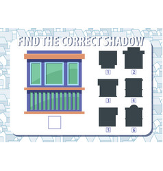 Game for kids find the correct shadow of kiosk vector