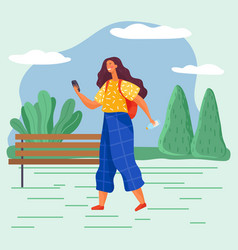 Girl with smartphone walking alone in summer park vector