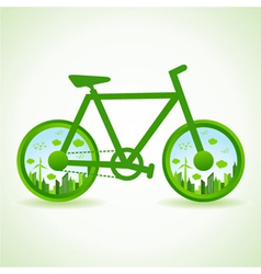 Go green concept - Eco cityscape in bicycle vector