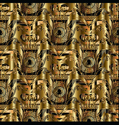 gold abstract 3d seamless pattern floral vector image