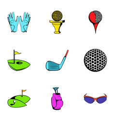 golf field icons set cartoon style vector image