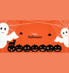 halloween party background with ghosts vector image