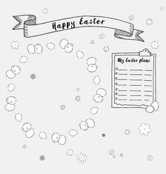 Hand drawn ink easter plans and frames vector