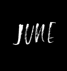 Hand drawn typography lettering june month vector