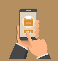 hand holding smartphone with voting app vector image