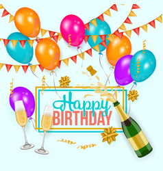 happy birthday greeting card template champagne vector image