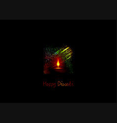 happy diwali indian lights festival holiday card vector image