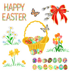 Happy easter decoration easter wicker vector