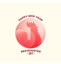 Happy New Year Greeting Card Minimalistic Red vector image