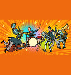 Jazz rock n roll band of humans and robots vector