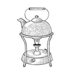 Kettle in primus stove sketch engraving vector