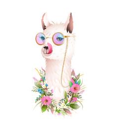 Lama showing tongue fun sunglasses flowers animal vector