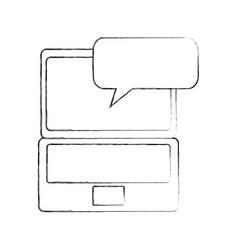 laptop technology speech bubble communication vector image